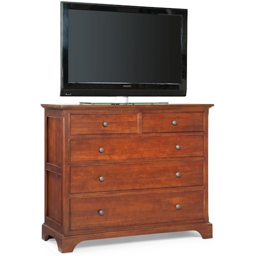 Cresent Fine Furniture Retreat Cherry Casual Cherry 5 Drawer Media Dresser