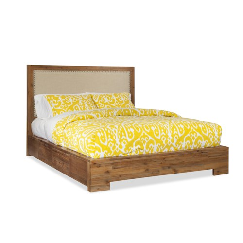 Cresent Fine Furniture Waverly Queen Upholstered Low Profile Bed w/ Storage on Both Sides