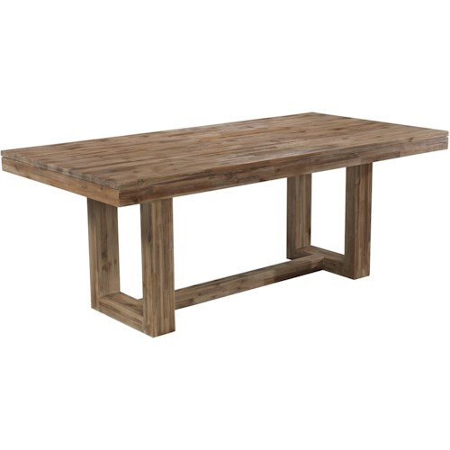 Cresent Fine Furniture Waverly Modern Rectangular Dining Table with Rustic Trestle Base