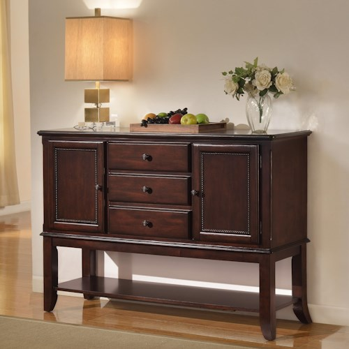 Crown Mark Merlot Side Board with Open Bottom Shelf