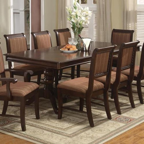 Crown Mark Merlot Double Pedestal Dining Table with One 18 Inch Leaf
