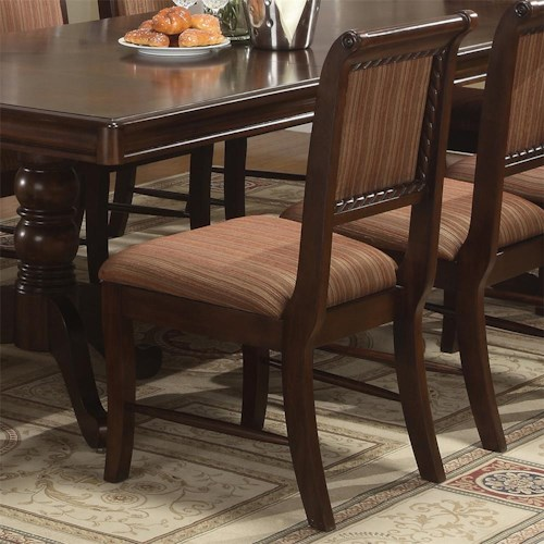Crown Mark Merlot Dining Side Chair with Striped Upholstered Seat and Seat Back
