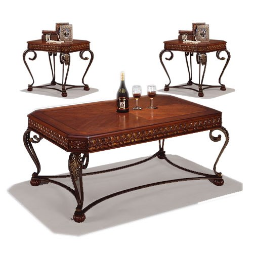 Crown Mark Clairmont Three Piece Wood and Metal Cocktail and Two End Table Group