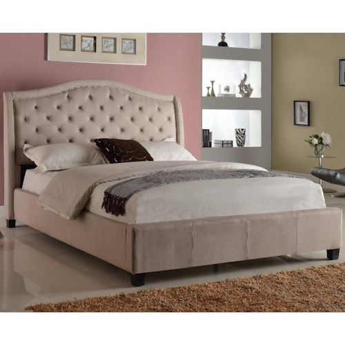 Crown Mark Addison Upholstered King Bed with Tufted Headboard