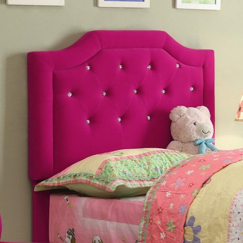 Crown Mark Amelia Youth Twin Pink Upholstered Headboard