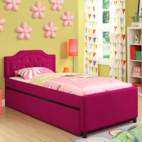 Crown Mark Amelia Twin Youth Pink Upholstered Trundle Bed