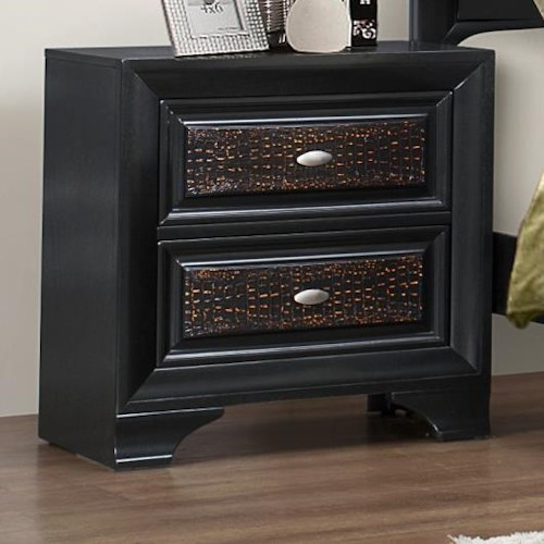 Crown Mark Andros 2 Drawer Crocodile Panel Night Stand