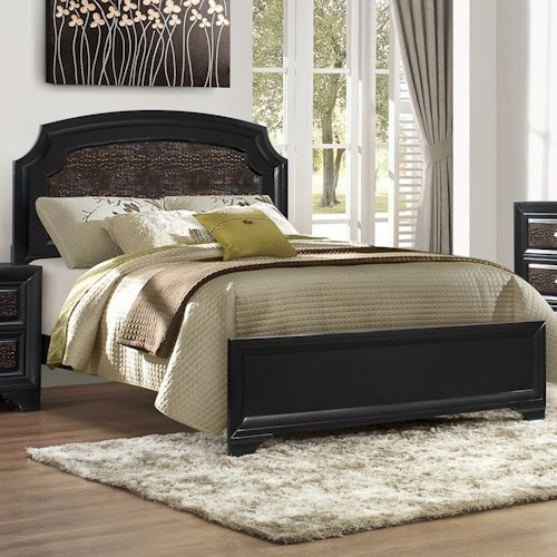 Crown Mark Andros Crocodile Skin Queen Bed