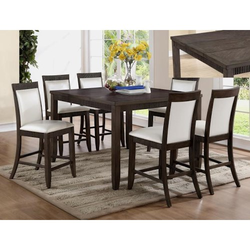 Crown Mark Ariana 7 Piece Counter Height Set with Upholstered Chairs