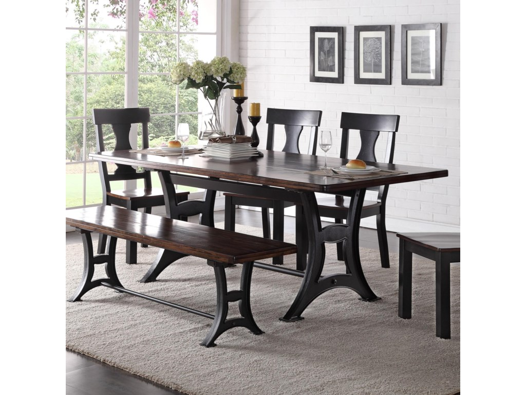 Industrial Kitchen Table Furniture Crown Mark Astor Industrial Dining Table With Trestle Base And