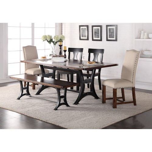 Crown Mark Astor Mixed Style Dining Set with Bench