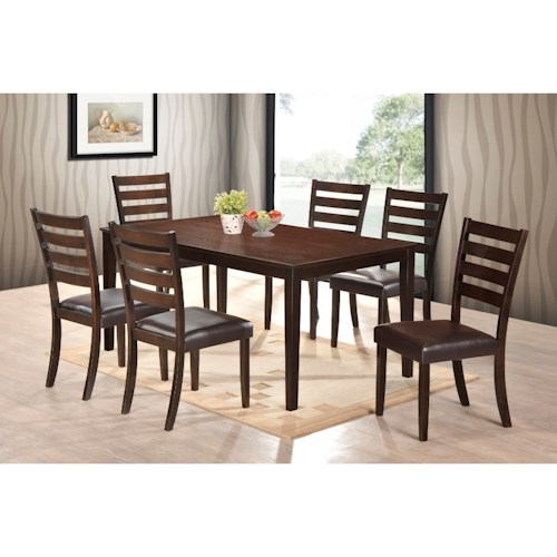 Crown Mark Aubery Dining 7 Piece Table and Ladder Back Chair Set