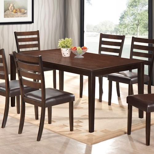 Crown Mark Aubery Dining Dining Table in Rich Brown Finish