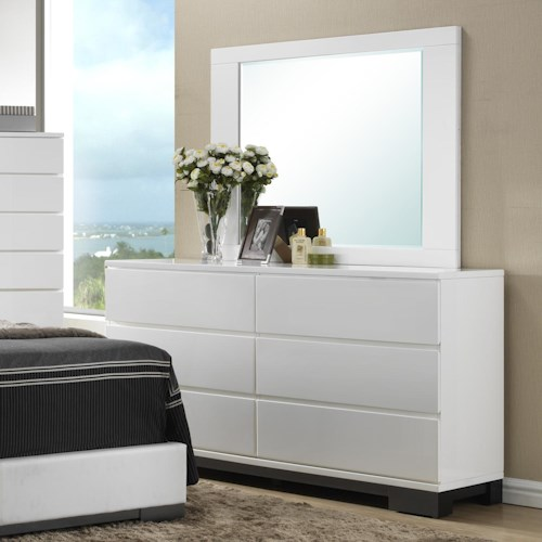 Crown Mark Avery  Contemporary 6 Drawer Dresser and Framed Square Mirror