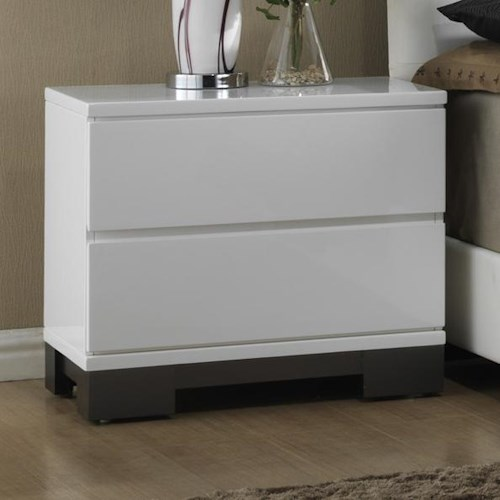 Crown Mark Avery  Contemporary Two-Tone Nightstand with 2 Drawers