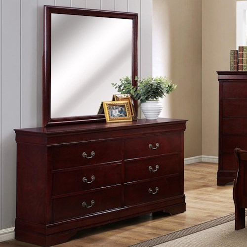 Crown Mark B3800 Louis Phillipe 6 Drawer Dresser with Square Mirror