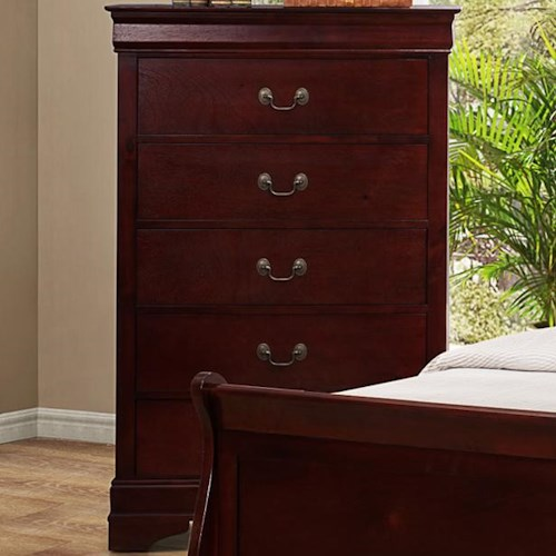 Crown Mark B3800 Louis Phillipe 5 Drawer Chest with Metal Bail  Handles and Bracket Feet