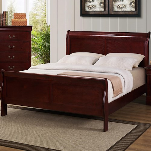 Crown Mark B3800 Louis Phillipe King Sleigh Bed with Raised Panels