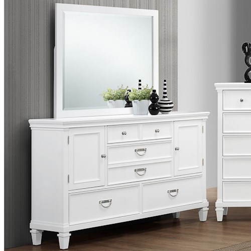 Crown Mark Hannah Dresser with 5 Drawers and 2 Doors and Mirror Set