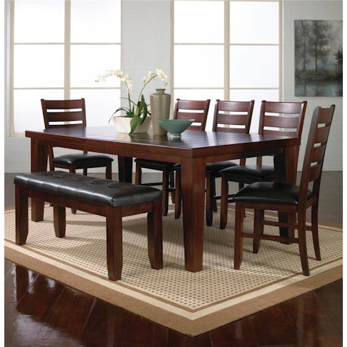 Crown Mark Bardstown 7 Piece Dining Table Set w/ 5 Chairs & 1 Bench