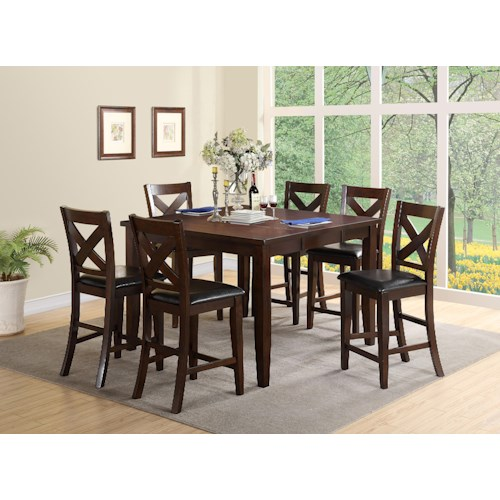 Crown Mark Bartlett 7 Piece Counter Height Set with Upholstered Chairs