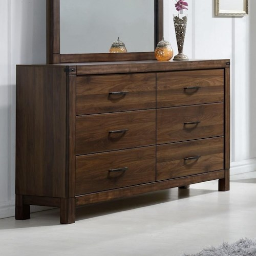 Crown Mark Belmont Six Drawer Dresser with Rustic Finish