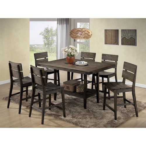 Crown Mark Brandon 7 Piece Rustic Counter Height Table and Chair Set