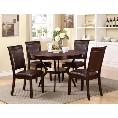 Crown Mark Brooke 5 Piece Dining Set with Single Pedestal Round Table and Upholstered Chairs