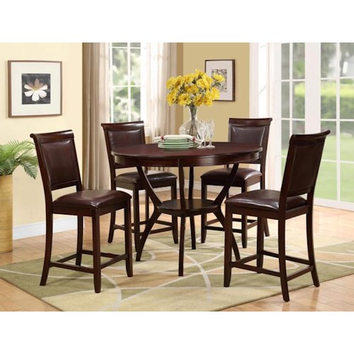 Crown Mark Brooke 5 Piece Counter Height Set with Round Table and Upholstered Chairs