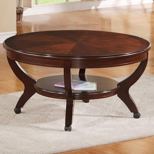 Crown Mark Brownstown Cocktail Round Coffee Table with Shelf