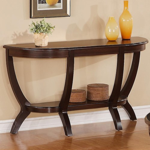 Crown Mark Brownstown Cocktail Sofa Table with Shelf