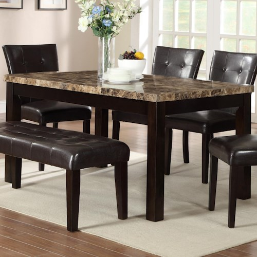 Crown Mark Bruce Rectangular Dining Table with Faux Marble Top