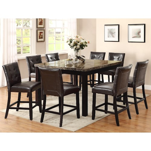 Crown Mark Bruce 9 Piece Counter Height Set