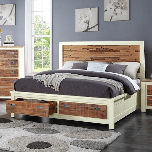 Crown Mark Buckley California King Bed with Footboard Storage Drawers