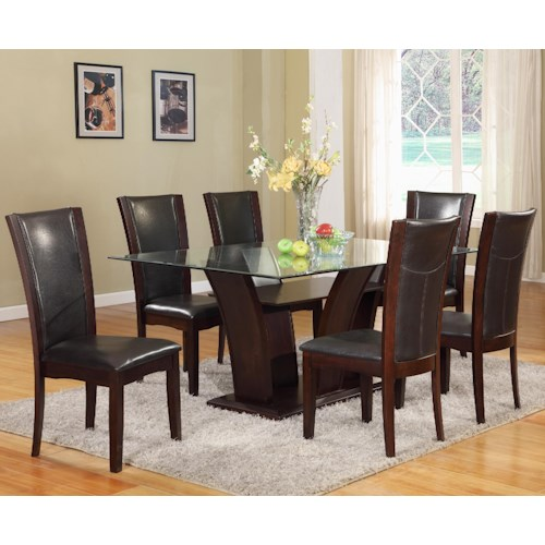 Crown Mark Camelia 7 Piece Espresso Table & Upholstered Chair Set