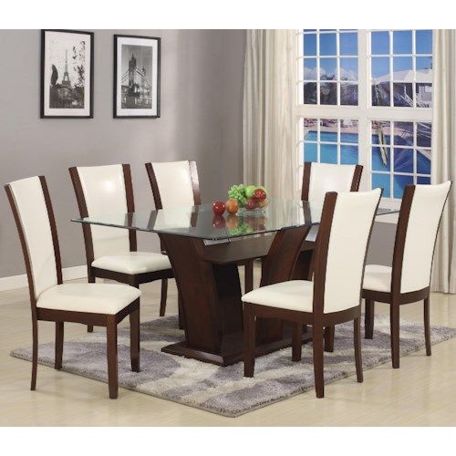Crown Mark Camelia 7 Piece White Table & Chair Set