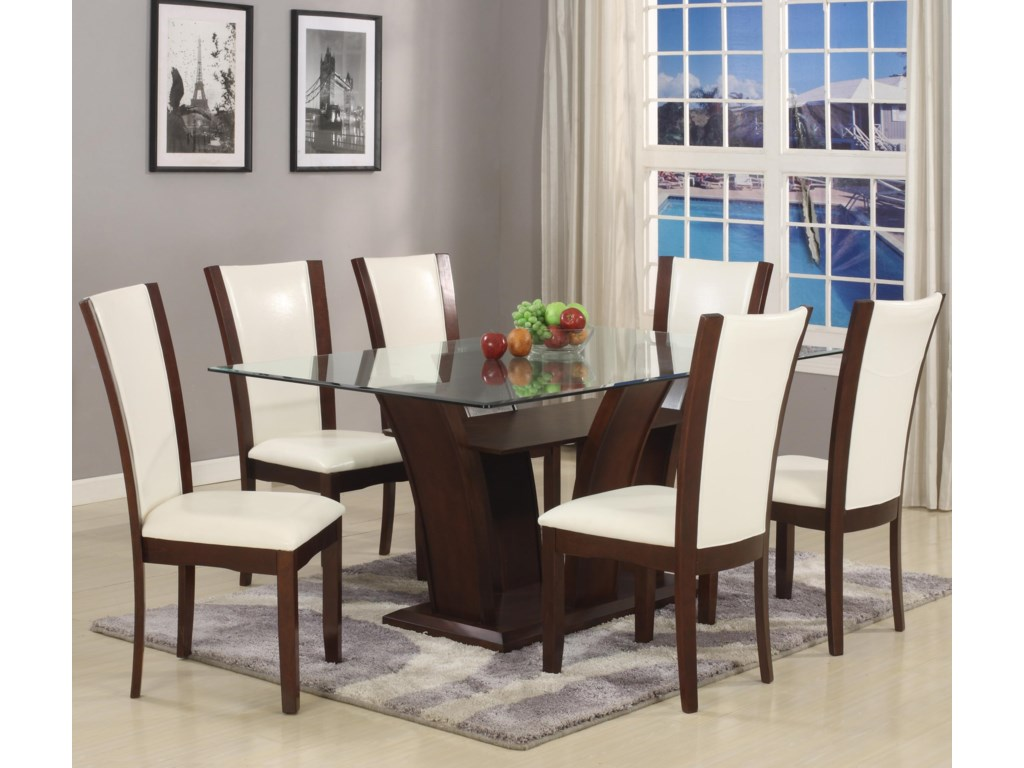 Rectangle Dining Room Tables Crown Mark Camelia Rectangular Dining Table With Glass Top Del