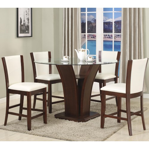 Crown Mark Camelia 5 Piece White Counter Height Table & Stool Set