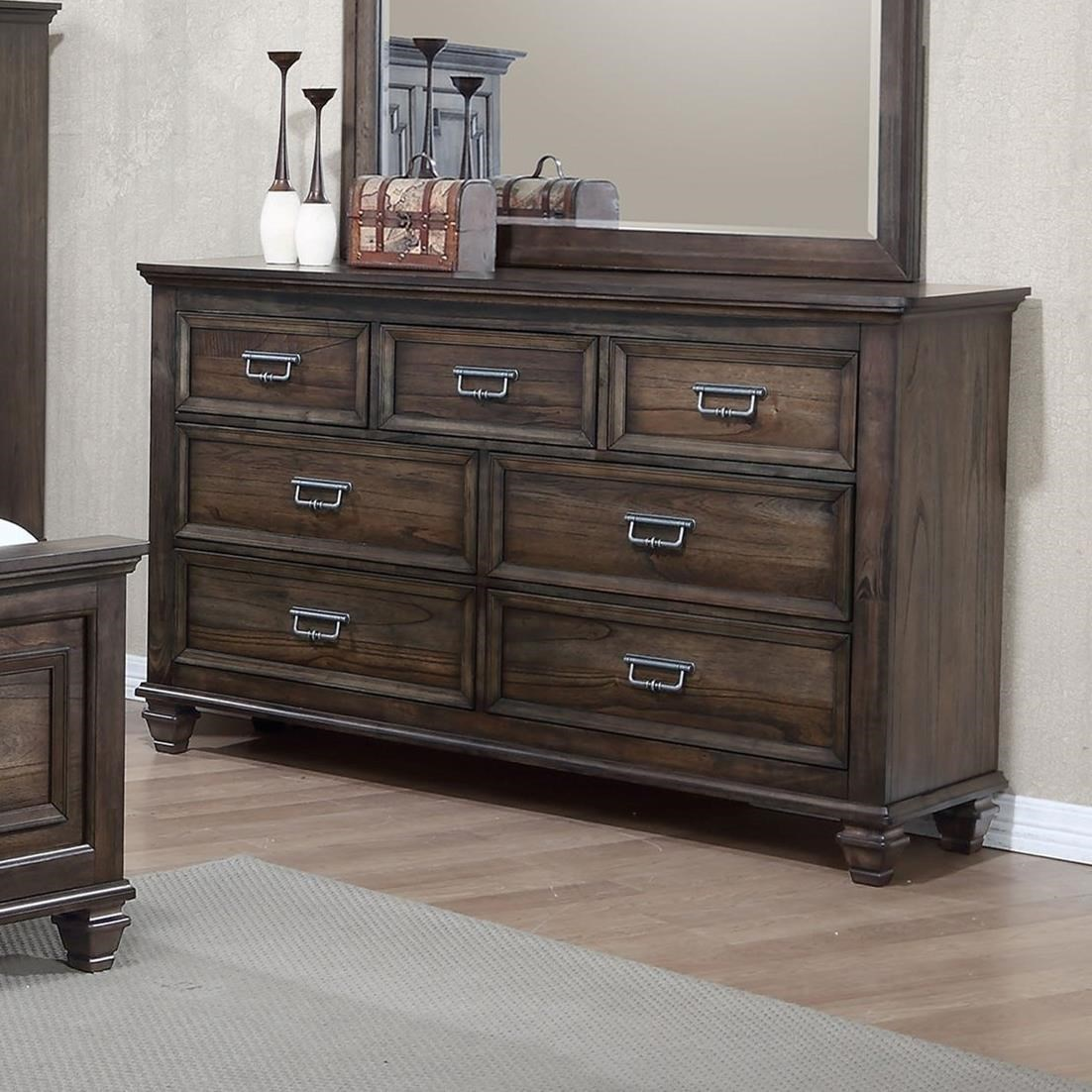 Crown Mark Campbell 7 Drawer Dresser With Modern Finish
