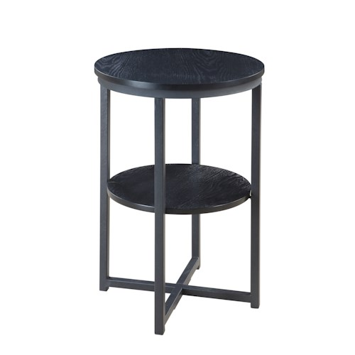 Crown Mark Chairside Tables Black Chairside Table with Storage Shelf