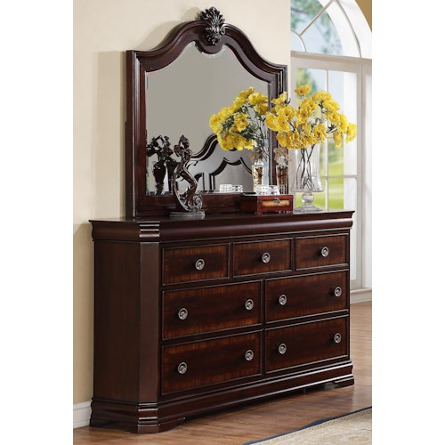 Crown Mark Charlotte 7 Drawer Dresser and Traditional Mirror Combo