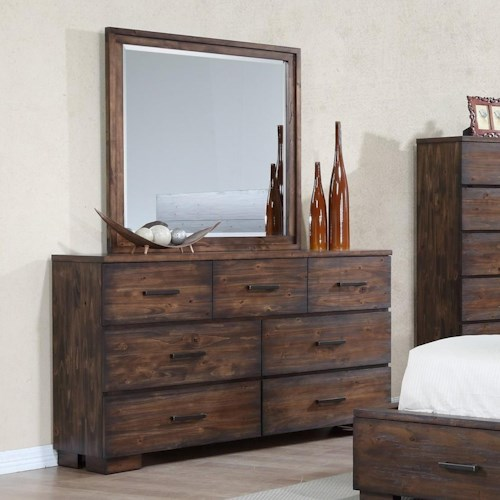 Crown Mark Cranston Solid-Wood Rustic Dresser and Mirror Set
