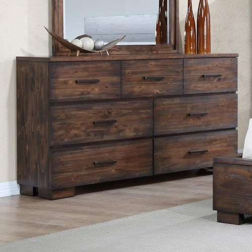 Crown Mark Cranston Solid-Wood Rustic Dresser