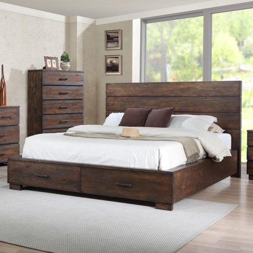 Crown Mark Cranston King Low-Profile Bed with Footboard Storage Drawers