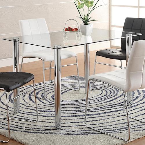 Crown Mark Crystal Rectangular Glass Top Table with Metal Leg Base