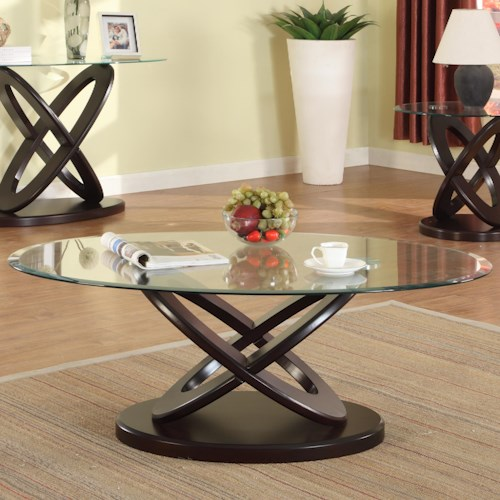 Crown Mark Cyclone Glass Top Coffee Table