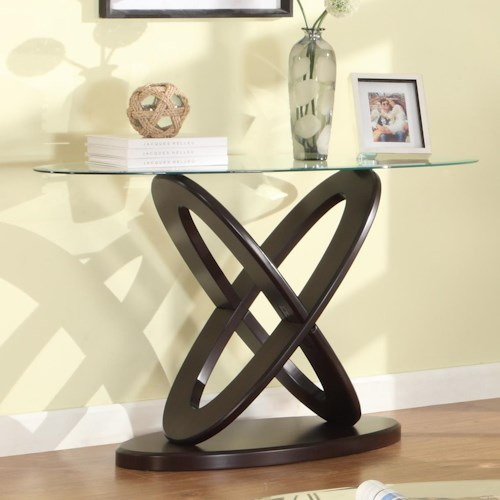 Crown Mark Cyclone Glass Top Sofa Table