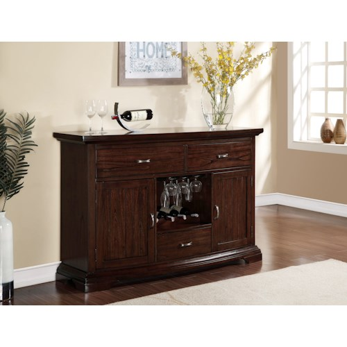 Crown Mark Daria Side Board with Built In Wine Bottle Storage