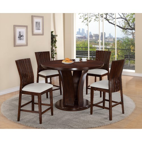 Crown Mark Daria Round Pub Height Dining Table and Stool Set