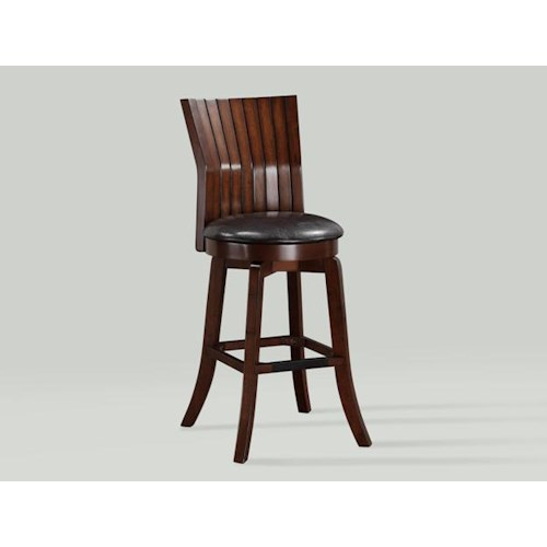Crown Mark Daria Swivel Counter Height Bar Stool with Paneled Back